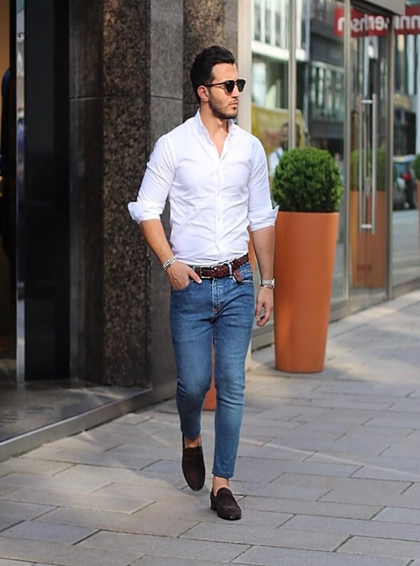 Blue Jeans White Shirt Outfits Ideas For Men
